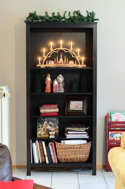 36 Best Images About Christmas Bookcase Decor Ideas On