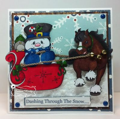 """ONECRAZYSTAMPER.COM: January Challenge -- Anything Goes by Donna using High Hopes Stamps """"Sleigh Ride"""" (SS004) & """"Classy Clydesdale"""" (T506)"""