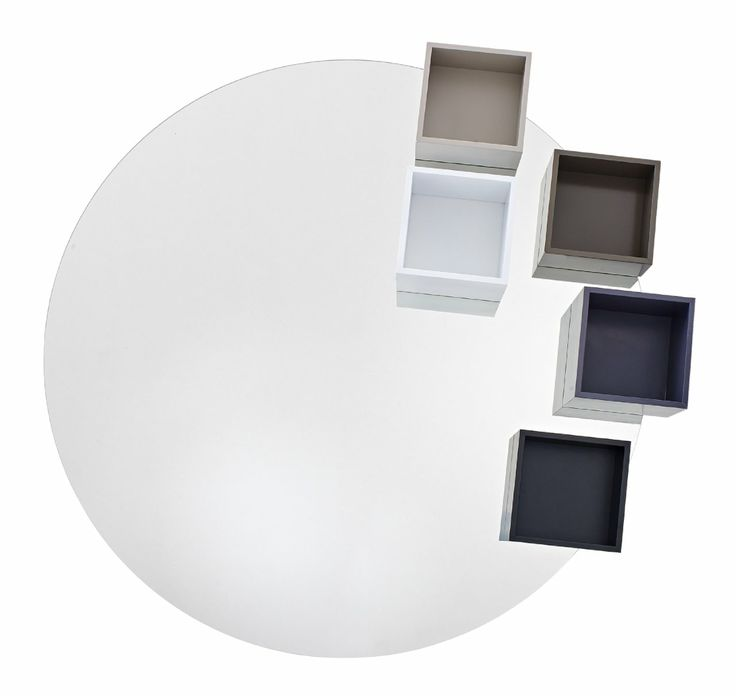 This 111 cm diameter mirror will add drama to any scheme. The design has 5 cube storage niches each in a different colour: argile, white, black, elephant and anthracite. Ligne Roset collection 2015