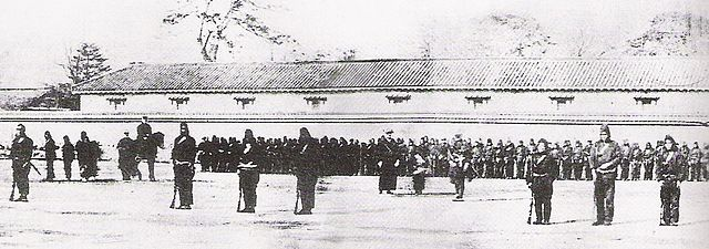 Training of the Shogunate troops by the first French Military Mission to Japan in 1867, just before the Boshin war (1868–1869) which led to the Meiji restoration.