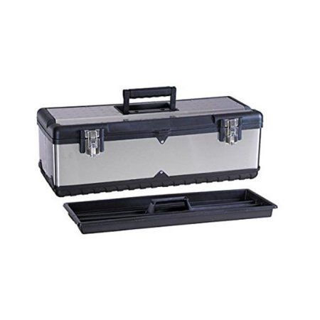 Maxxhaul HL-3030 22. 5 inch Stainless Steel Tool Box with Foldable Handle & Inside Tray, Multicolor