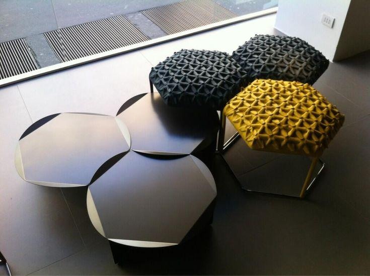B Italia Hexagonal side tables & stool, Milan 2013.  Photo by Curve Interior Design.