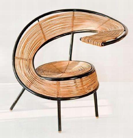 Wicker chair by Polish designer WŁADYSŁAW WOŁKOWSKI