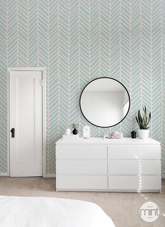 Mint Green Peel And Stick Wallpaper Geometric Lines Wall Green Wallpaper Bedroom Mint Green Wallpaper Green Wallpaper