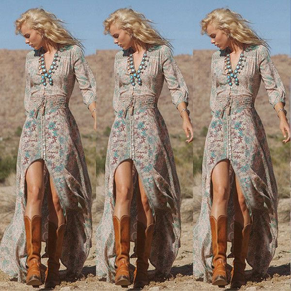Donna BOHO Sexy Scollo a V Manica Lunga Floreale Chiffon Maxi Vestito Long Dress