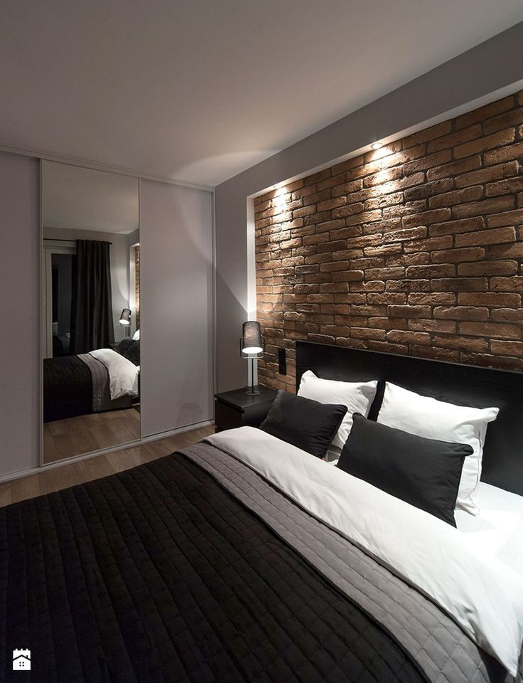 Great idea: plastering and lighting the edge of a brick wall.