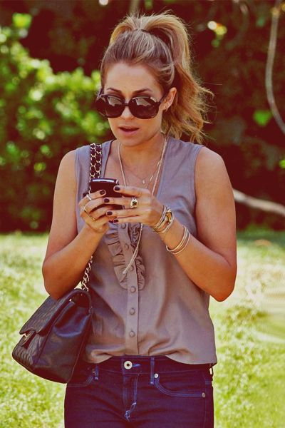 high pony tail: Blouses, Fashion, Style, Clothing, Outfit, Tanks Tops, High Ponytail, High Ponies, Lauren Conrad