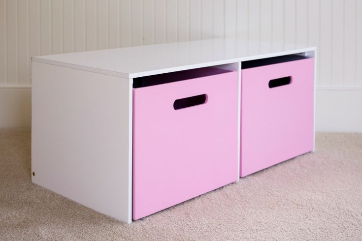 Toy hutch with two of our double-sided toy boxes available in multiple colors.