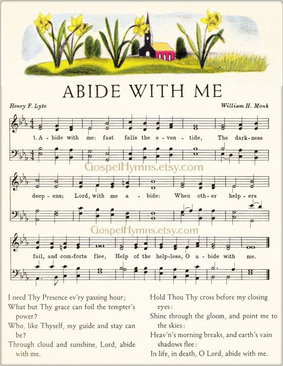 Abide With Me Sheet Music Hymn Art Prints or cards by GospelHymns