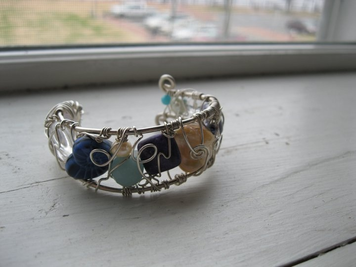 Sterling Silver and gemstone wired cuff bracelet. Made by Courtney Birdsall of River City Beadworks: Gemstone Wire