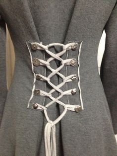 SMOKY GREY corset laced steampunk cloak jacket hoody pixie fairy red riding hood girly pirate