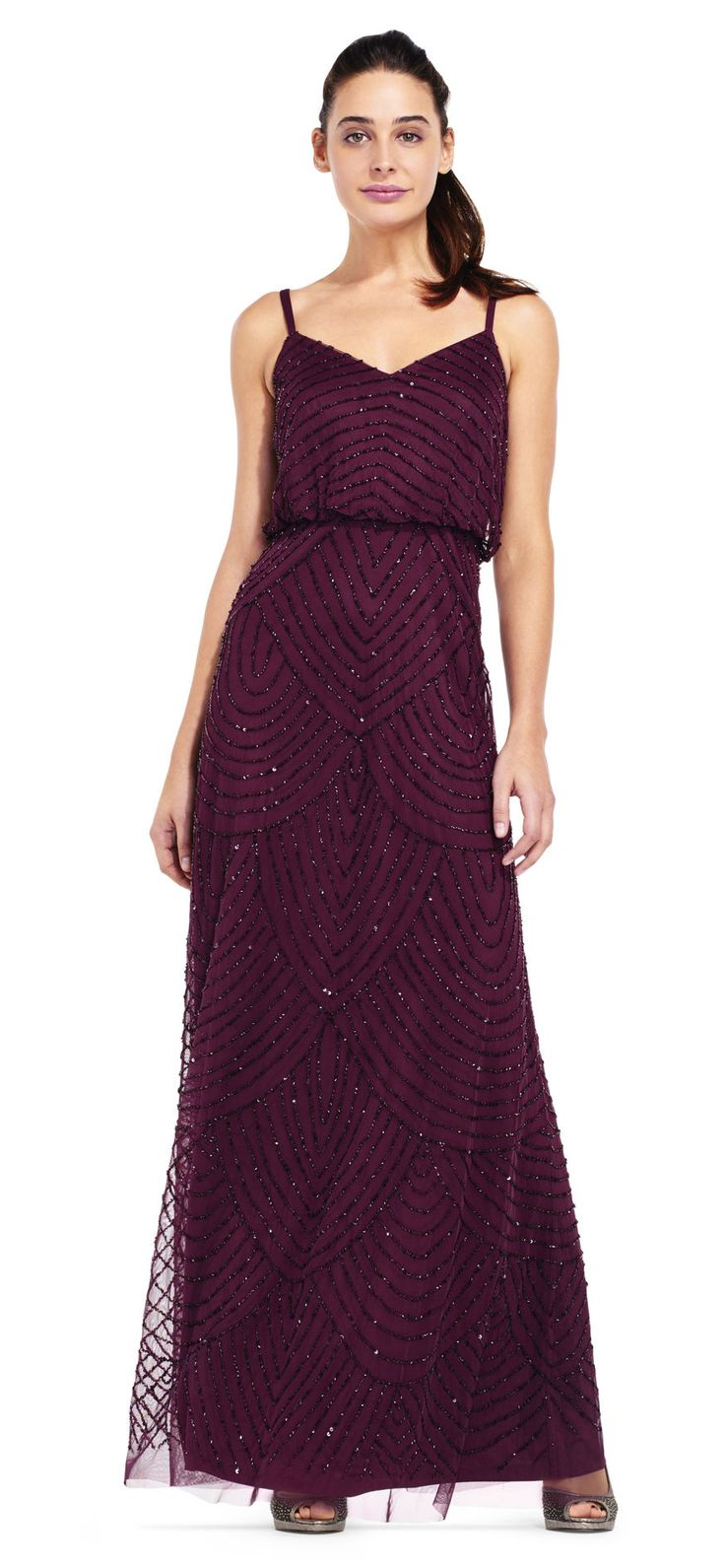 21 best plum and purple bridesmaids dresses images on pinterest adrianna papell art deco beaded blouson gown ombrellifo Image collections