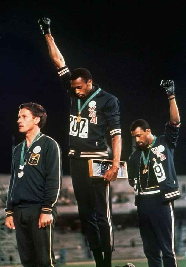 The Black Power salute of gold medallist Tommie Smith and bronze medalist John Carlos during the 1968 Summer Olympic Games.