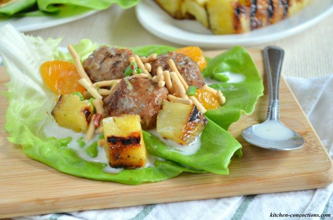 AD: Hawaiian Meatball Lettuce Wraps with Spicy Coconut Milk Dressing - Kitchen Concoctions