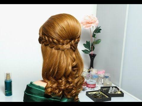 ▶ Праздничная прическа с двумя ажурными косами для длинных волос. Romantic hairstyle for long hair - YouTube