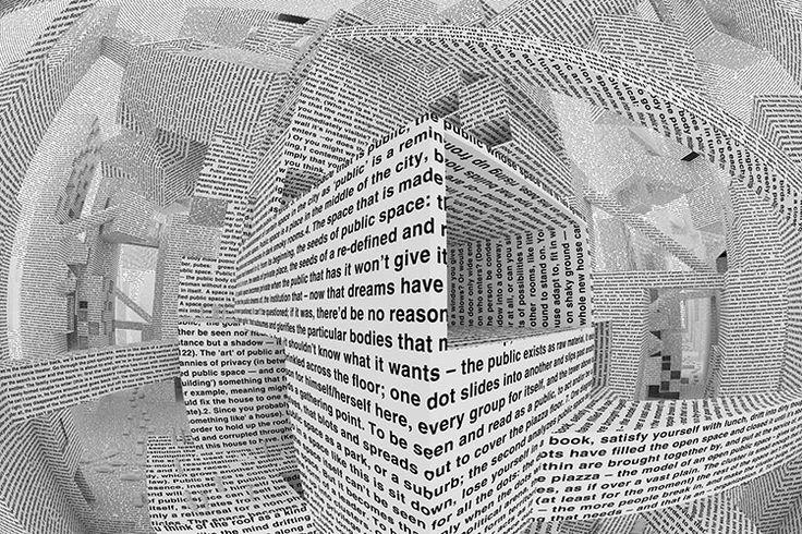 """Intervención del espacio por medio de texto (serialidad o grandes formatos de texto) generar texturas por medio de texto - texto como imagen Maharam and Vito Acconci's """"City of Words"""" Wallpaper (2011)"""