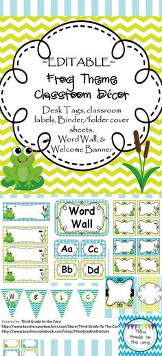 """Brighten up your class with these colorful decorations! All labels and binder covers are editable. This classroom set includes 2 different style Desk Tags, classroom labels in different sizes and styles, 3 different Binder/folder cover sheets that can be used for teacher or student binders, Word Wall set, And a """"Welcome"""" Bunting Banner."""