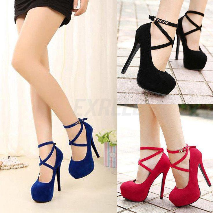 Nova Moda Sapato feminino tira no tornozelo plataforma salto alto Stiletto De Casamento Bombas Sapatos | Roupas, calçados e acessórios, Calçados femininos, Scarpin | eBay!