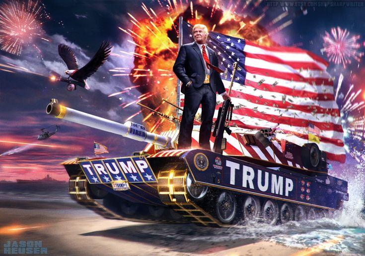 In de digitale schilderijen van James Heuser rijden de Amerikaanse presidenten niet in saaie limousines, maar op haaien en grizzlyberen.