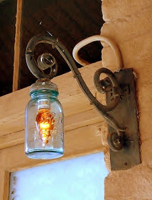 mason jar light post... i LOVE this... i have a thing for old mason jars...