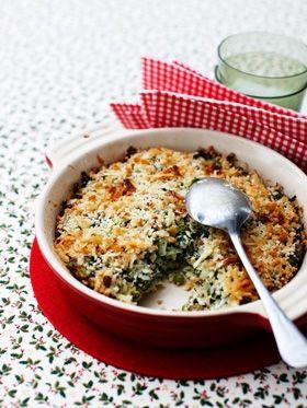 Kartoffelgratin med spinat
