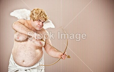Fat blonde cupid with bow and arrow aim for love for Valentine Day