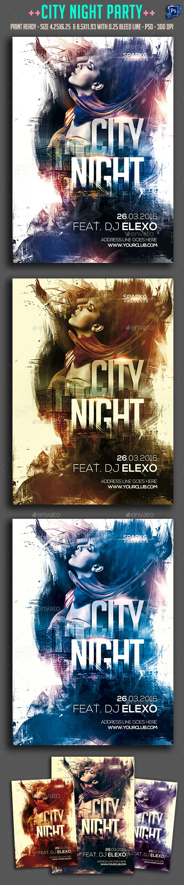 Poster design with a lot of text - City Night Party Flyer Template Psd Design Download Http Graphicriver