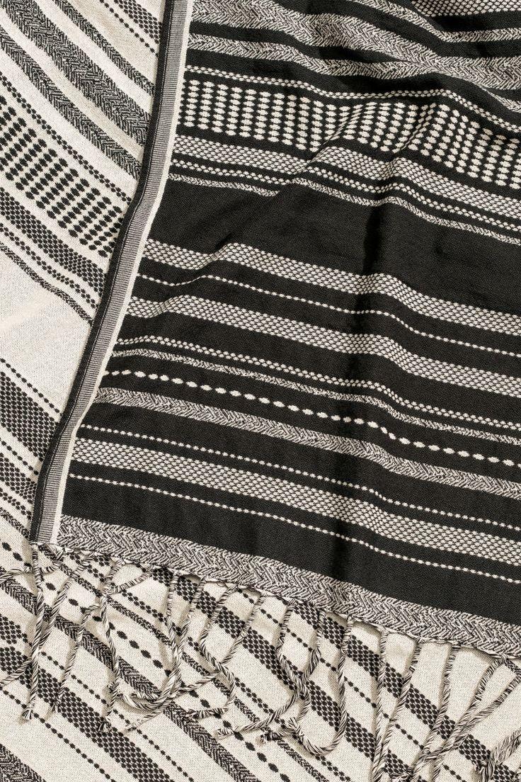 Couverture en tissu jacquard - Gris foncé/écru - Home All | H&M CA 2
