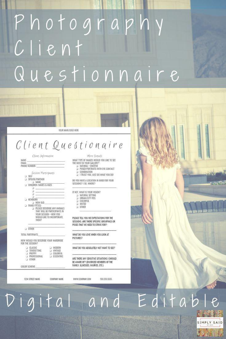 Client Questionnaire- Editable INSTANT DOWNLOAD