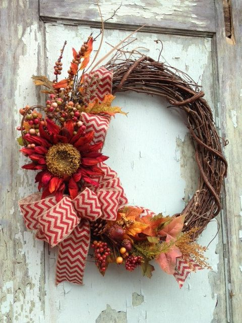 Fall Wreath Red Sunflower  Autumn Harvest Chevron by WreathUnique, $47.00