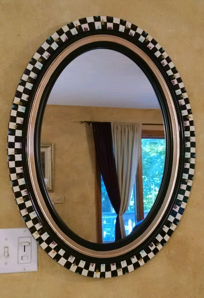 """Large 28"""" x 21"""" Hand Painted Whimsical Courtly B&W check oval mirror tall r wide"""
