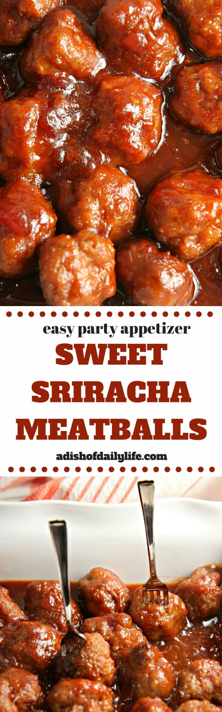 Looking for an easy meatball crockpot appetizer for game day? Sweet pairs with spicy in this Sweet Sriracha Meatballs recipe...the perfect addition to any party menu! You can even tone down the spiciness for a more kid friendly dish.