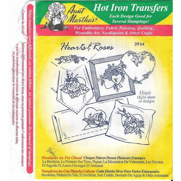 Aunt Martha's Hot Iron Transfers 3934 Hearts and Roses 9 pieces of Artwork Listing in the Fabric Transfers,Fabric Painting & Decorating,Crafts, Handmade & Sewing Category on eBid Canada | 167298312 CAN$ 5.00 + shipping