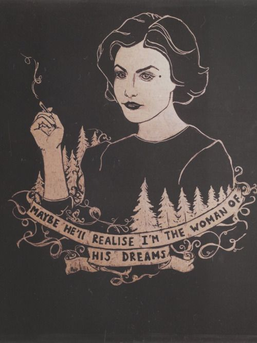• drawing Illustration art trees gold tv series Twin Peaks artists on tumblr agent cooper Laura Palmer Audrey Horne black paper Sherylin Fenn prcrstln •