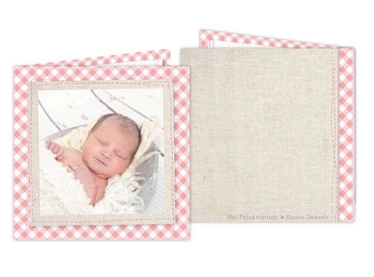 Studio Deksels - KAARTopMAAT - geboortekaartje - jute - foto - ruitje - oud roze - vintage - stiksel - stoer