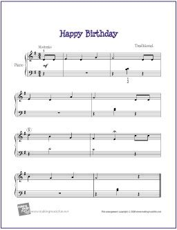 Happy Birthday | Free Sheet Music for Easy Piano - http://makingmusicfun.net/htm/f_printit_free_printable_sheet_music/happy-birthday-easy-piano.htm