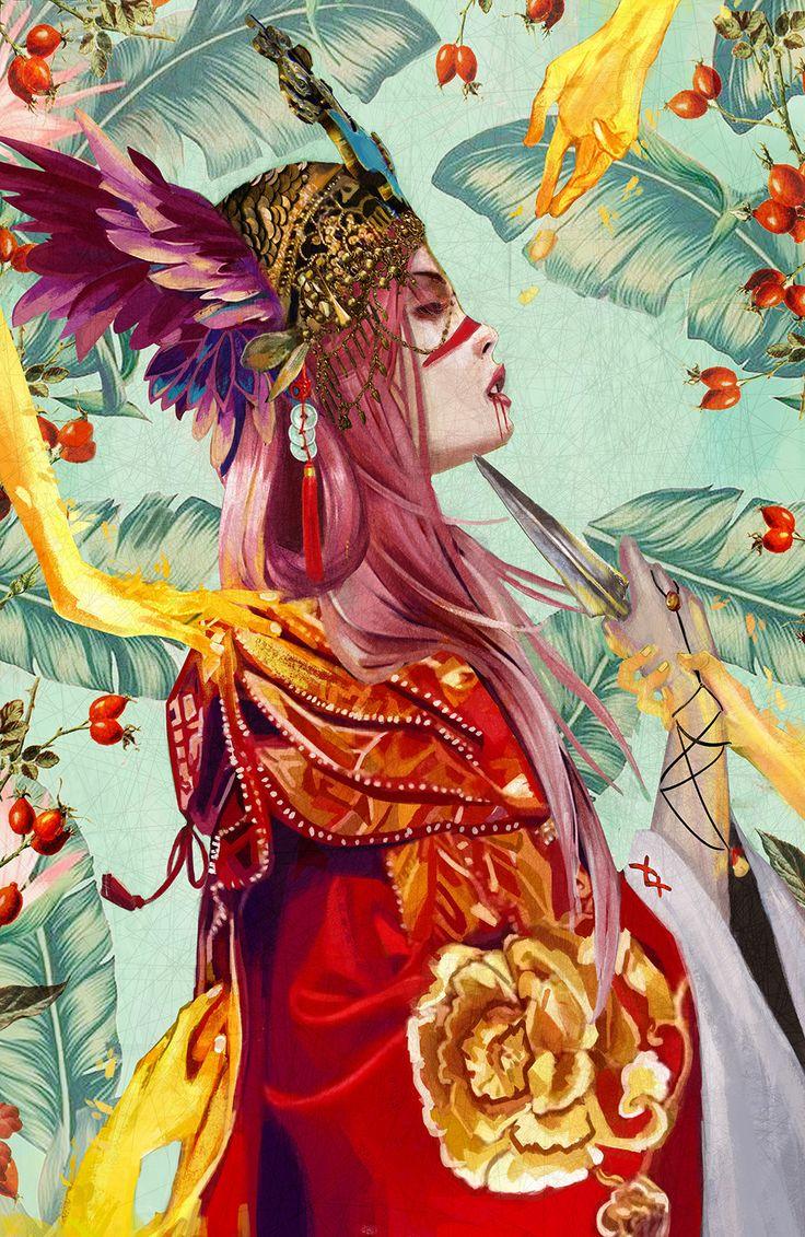 Maiko : Golden Samurai, chloe veillard on ArtStation at https://www.artstation.com/artwork/GybNa