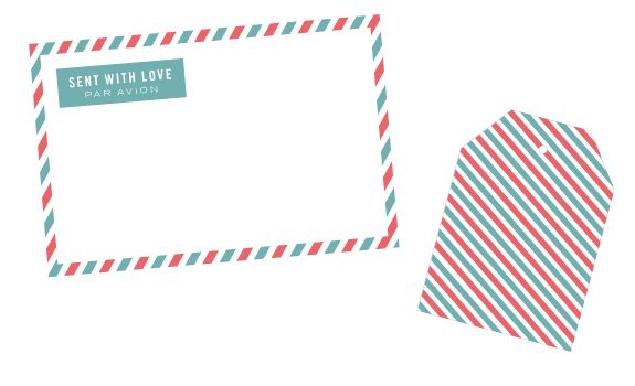 """""""Sent With Love"""" striped label with a matching patterned tag! Perfect for snail mailing! FREE"""