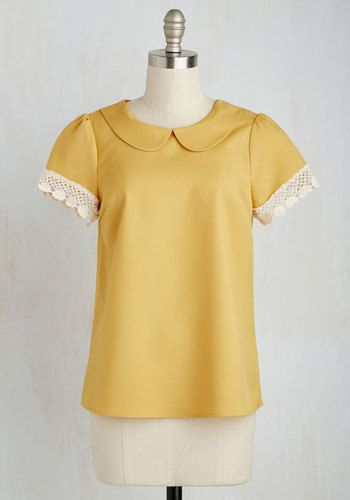 Surprise Tea Party Top in Goldenrod $39.99 AT vintagedancer.com