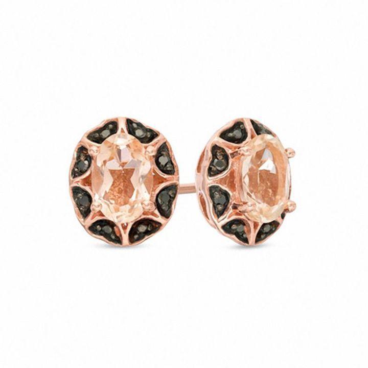 Zales Oval Garnet and Diamond Top Stud Earrings in 10K White Gold gq2Z4oi6