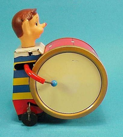 icollect247.com Online Vintage Antiques and Collectables - Circus Drummer Tin Wind Up Toy Diaya Japan 1960s Toys-Wind