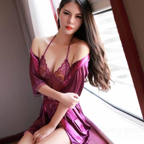 Women Lace Teddy Robe Sexy Lingerie Set at Banggood