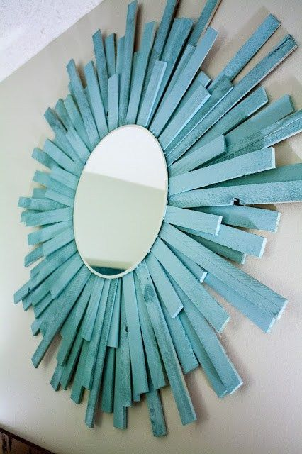 DIY Coastal Starburst Mirror From Paint Stirrers                              …