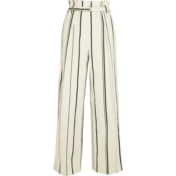 3.1 Phillip Lim Striped cotton and linen-blend wide-leg pants ($250) ❤ liked on Polyvore featuring pants, bottoms, trousers, striped wide-leg pants, white wide leg pants, cream pants, beach pants and white trousers