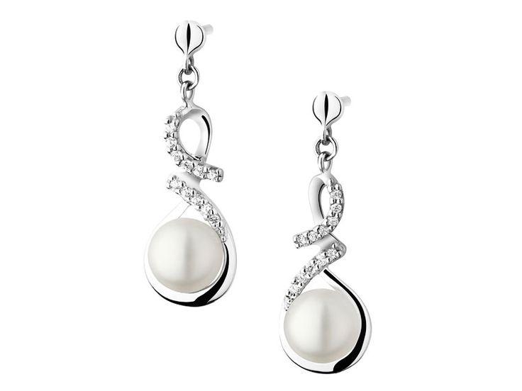 Kolczyki srebrne z perłą i cyrkoniami - wzór AP120-3607 / Apart