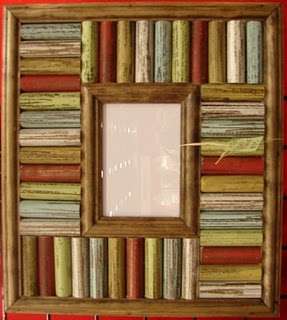 Picture frame. DIY painted dowel rods. OR I could see doing this with wine corks.