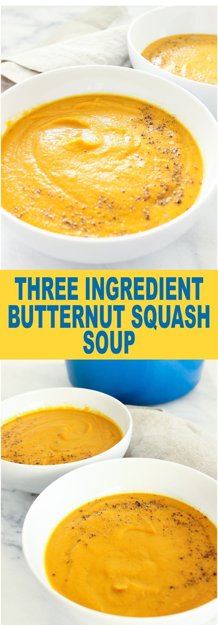 Super easy and healthy butternut squash soup. Dairy free yet so creamy! Only 3 ingredients!