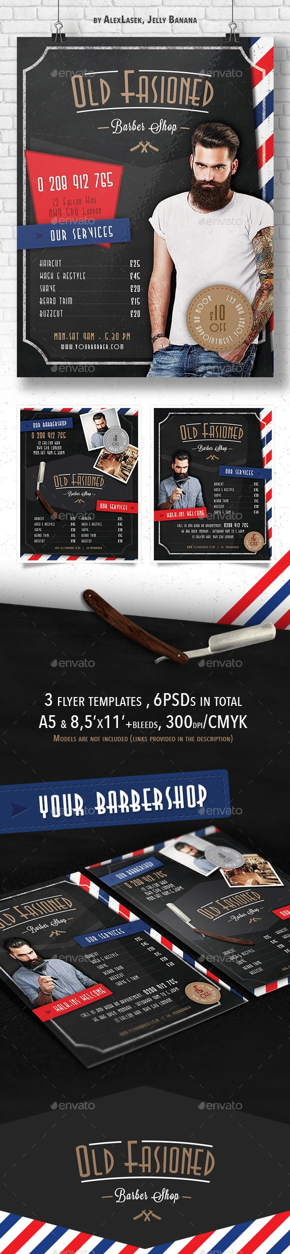 3 Old Fashioned Barber Shop Flyer Templates 6PSD