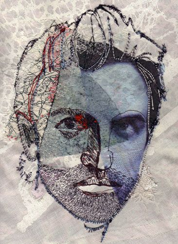 Portrait of fashion designer Nicolas Ghesquiere, hand and machine stitched by London based artist Shirley Nette Williams (hand and machine stitch, screenprint and digital transfer print on fabric)