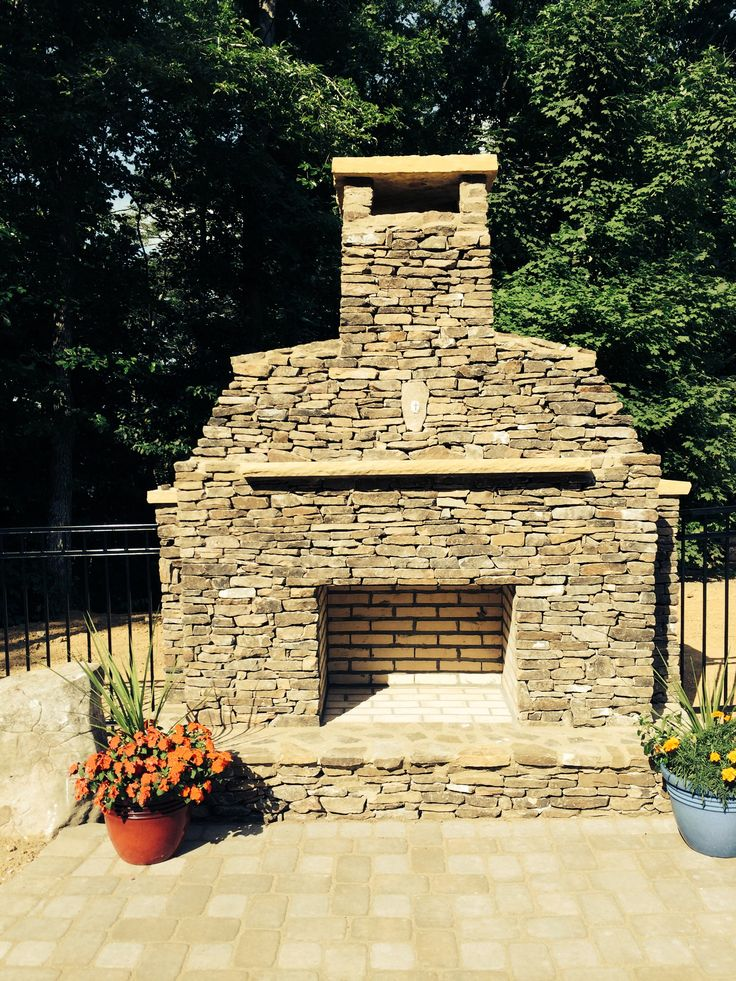 Outdoor Stacked Stone Fireplace Outside Ideas Pinterest